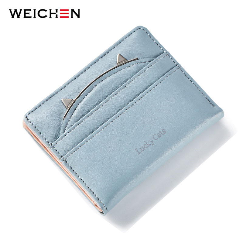 WEICHEN Korean Cute Cat Anime Pattern Fold Mini Wallet Purses For Women PU Leather Coin Card Holder  Bag Female Small Clutch 2017 korean cute anime cat leather trifold hasp mini wallet women small clutch female purse brand coin card holder dollar price
