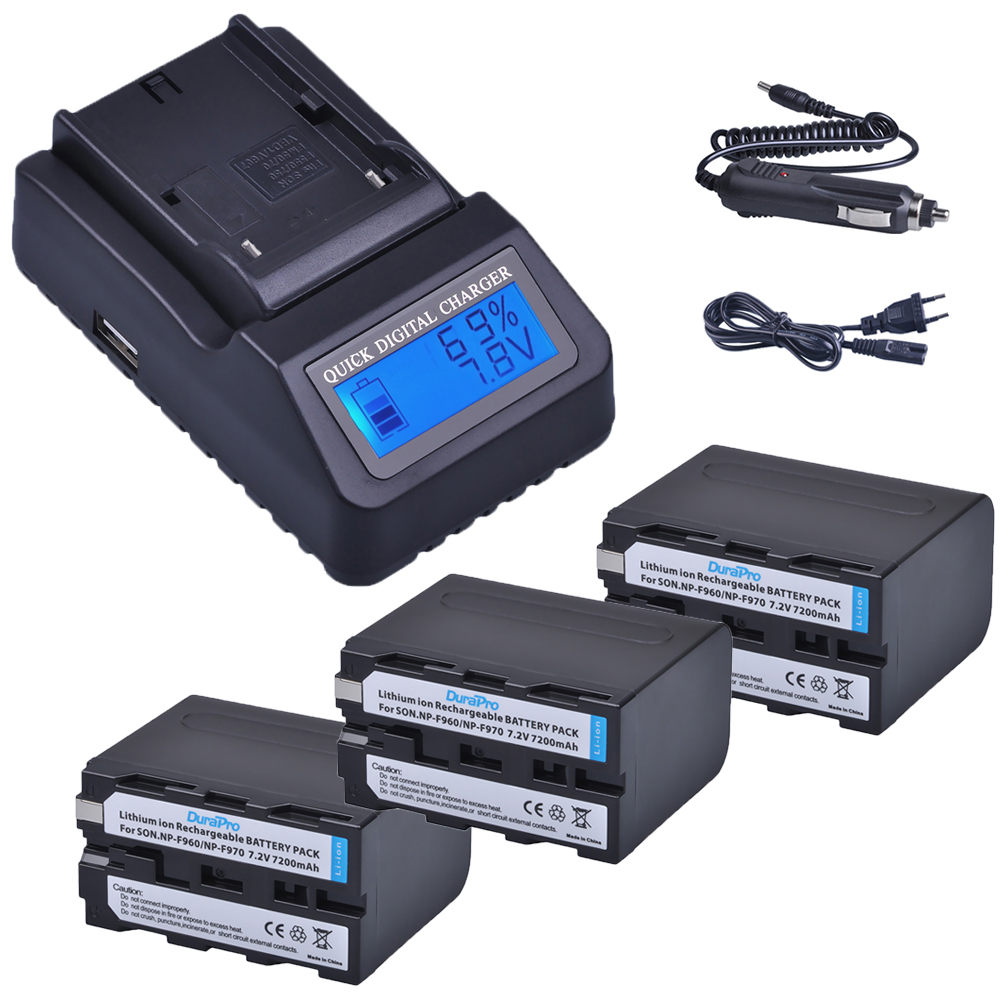 3pc 7200mAh NP-F960 NP-F970 NP F960 F970 Rechargeable Batteries + LCD Quick Charger for SONY HVR-HD1000 HVR-HD1000E HVR-V1J 2pcs np f960 np f970 np f960 f970 7 2v 7200mah replacement battery lcd quick charger for sony hvr hd1000 hvr hd1000e hvr v1j