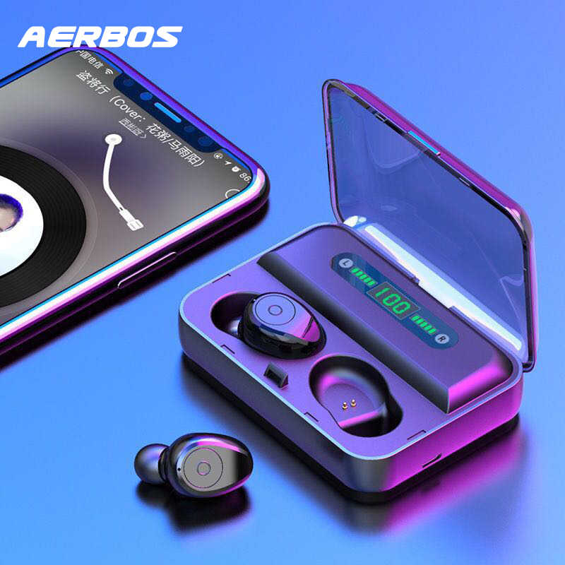 AERBOS LED Display auriculares inalámbricos Bluetooth 5,0 auriculares impermeables con 1200 Mah Power Bank auriculares estéreo Fone De Ouvido