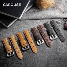 Carouse 22mm 20mm 수제 쇠가죽 채찍 밴드 삼성 갤럭시 시계 활성 42mm 46mm 기어 스포츠 S2 S3 클래식 스트랩 화웨이 GT 2