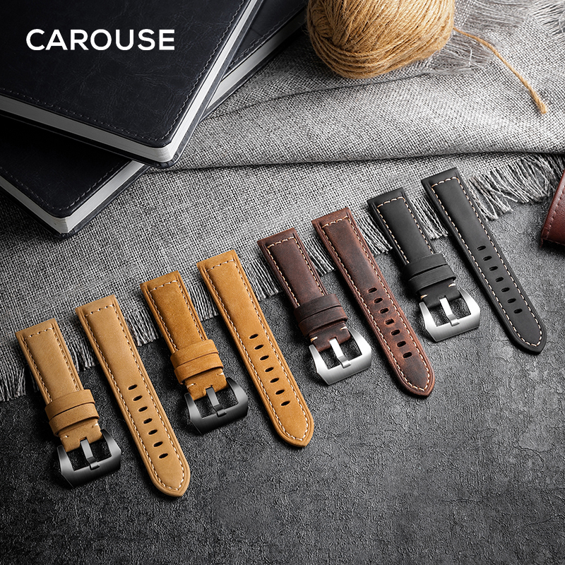Carouse 22mm 20mm Handmade Cowhide Band For <font><b>Samsung</b></font> Galaxy Watch Active 42mm <font><b>46mm</b></font> Gear sport S2 S3 Classic <font><b>Strap</b></font> For Huawei GT 2 image