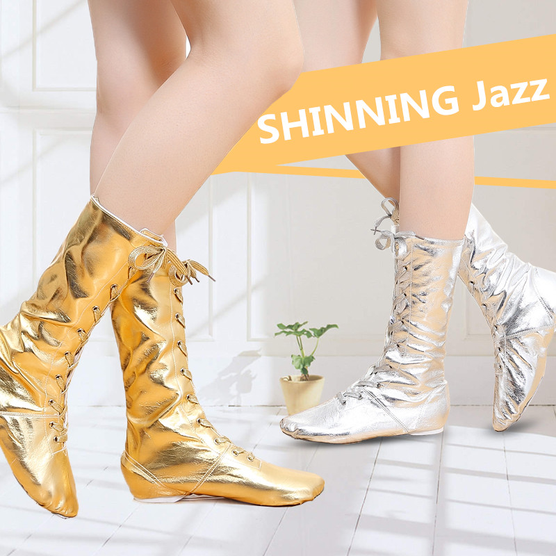 New Canvas PU Children Dance Boots Jazz Dancing Shoes Lace-ups Long Boot Black Gold Silver Stage Girls Performing Shoes