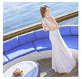 2016 summer white lace dress fuera del hombro backless tobillo-longitud diamond sexy mujeres largo maxi playa vestidos delgados