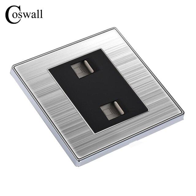 Coswall роскошные стены двойной Интернет разъем Мощность компьютер выходе Enchufe Нержавеющаясталь матовый серебристый Панель RJ45 Plug Soquete
