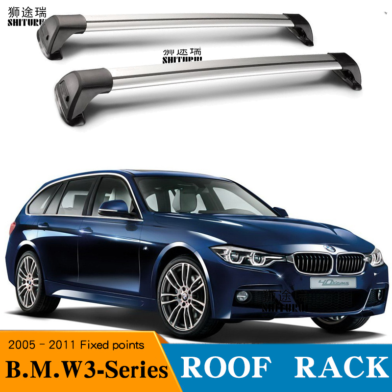2 pcs For BMW 3 Series, 5 dr Estate, 2005 2011 Fixed poin roof rack roof bar car special aluminum alloy belt lock Led