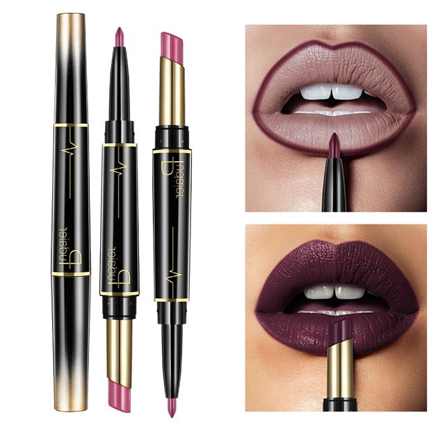 Pudaier Matte Lipstick Wateproof Double Ended Long Lasting Lipsticks Brand Lip Makeup Cosmetics Nude Dark Red Lips Liner Pencil
