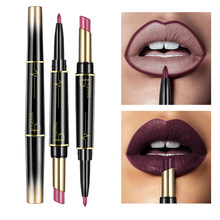 Pudaier Matte Lipstick Waterproof Double Ended Long Lasting Lipsticks Brand Lip Makeup Cosmetics Nude Dark Red Lips Liner Pencil(China)