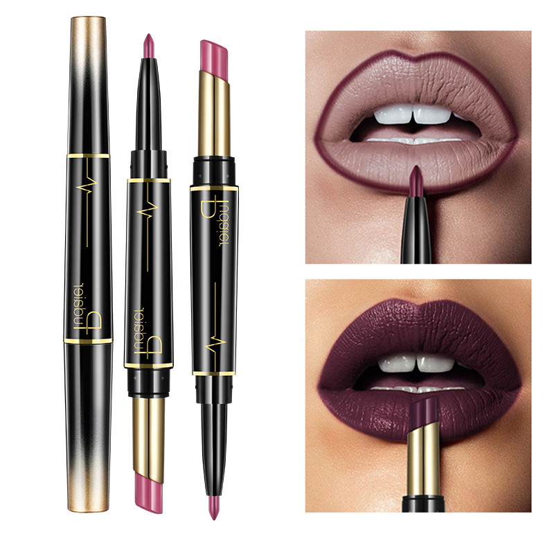 Pudaier Matte Lipstick Waterproof Double Ended Long Lasting Lipsticks Brand Lip Makeup Cosmetics Nude Dark Red Lips Liner Pencil image