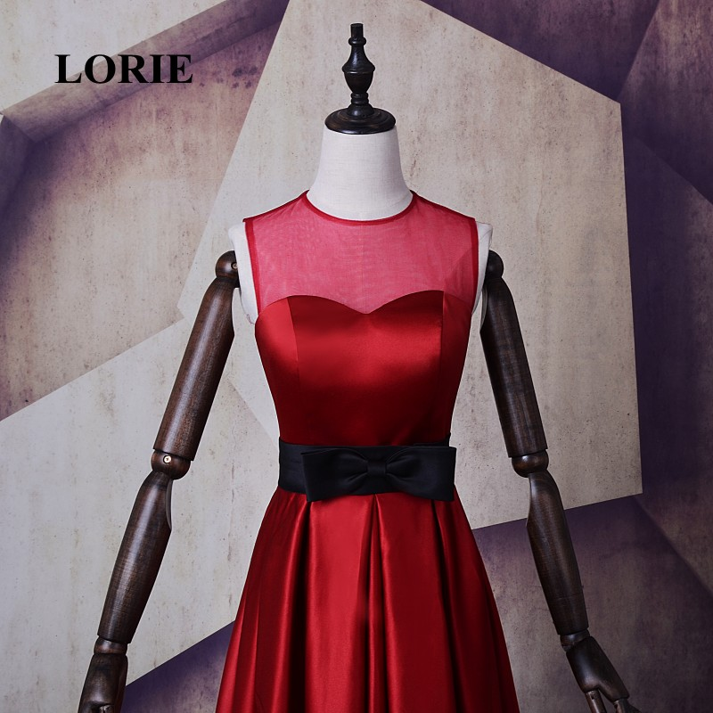 LORIE Hot Sale Wine Red Evening Dress A Line O Neck Satin Long Prom Dress  Free Shipping Party Gown vestido de festa longo 2017-in Evening Dresses  from ... 506f5f1b980e