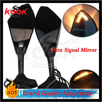 kook-HSJ-007  2015 newest Carbon Fibre Motorcycle Integrated Turn Signal inside  Mirrors motocross reaview mirror