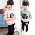2017 winter suit wear long sleeved sweater cotton children's Korean foreign trade letters of two suits of girls baby clothing