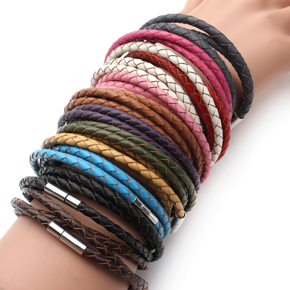 2019 New Fashion 100% Genuine Braided Leather Bracelet Men Women Magnetic Clasps Charm Bracelets Pulseras Male Female Jewelry