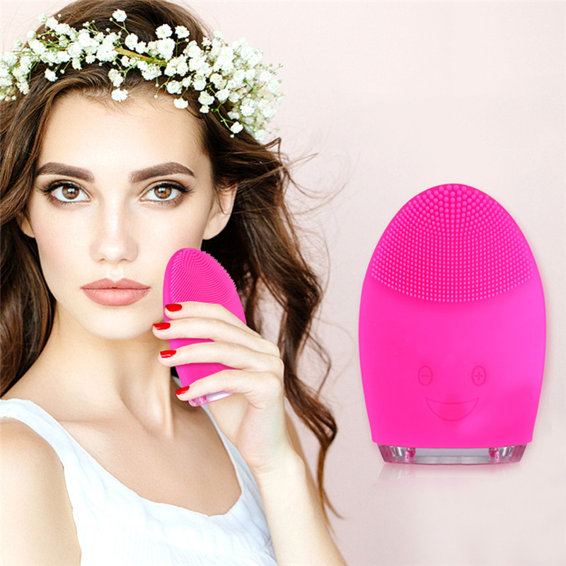 все цены на Electric Waterproof Facial Cleansing Brush Electric Silicone Face Brush Cleanser Ultrasonic Massage Skin Deep Cleaning Device