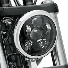 "FADUIES For Harley Sportster 883 1200, Iron 883, Dyna, Street Bob FXDB 5.75"" 5 3/4"" Motorcycle Projector 45W LED Lamp Headlight"