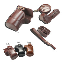 Luxury Pu Leather Camera Case Bag For Canon EOS R 24 105 45mm Lens Openning Bottom Cover With Strap Mini Pouch Wrist strap