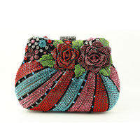 Big Red Rose Crystal Clutch Evening Bags For Women 2016 Latest Clutch Handbags Special Occasions Black