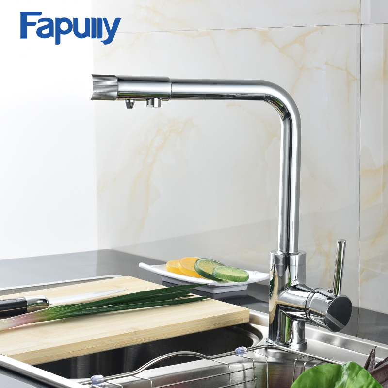 Fapully High Quality Brass Chrome Kitchen Water Purifier Faucet Mixers Sink Tap Cold and Hot Rotatable Sink Faucets 575-33C flg brass kitchen faucet mixer cold and hot kitchen tap chrome single hole water tap kitchen sink 674 33c