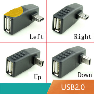 Mini USB 5Pin Male to USB Female 90 degree Angle Converter Connector data Sync OTG Adapter for Car MP3 MP4 Tablets Phones U-Disk