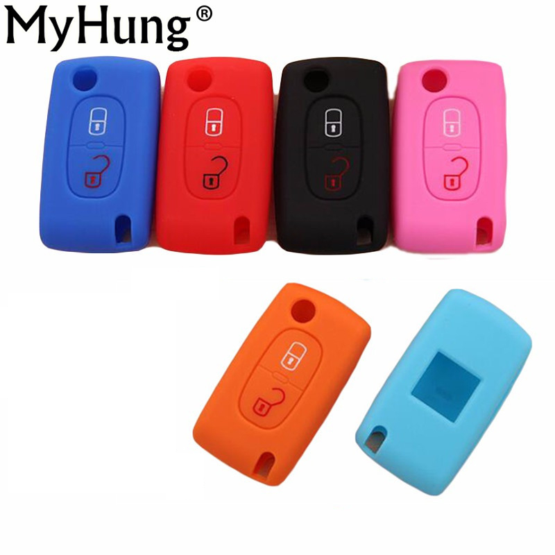 New Silicone Car Key <font><b>Cover</b></font> Case Bag key <font><b>Cover</b></font> 2 Buttons for <font><b>PEUGEOT</b></font> 206 207 307 <font><b>308</b></font> 407 408 Citroen C2 C3 C4 C4L C5 C6 1pc image