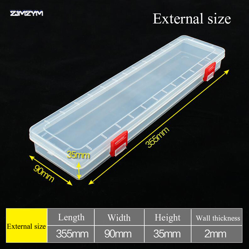 New 14 Inch Long Strip Transparent Portable Jewelry Tool Box Container Ring Electronic Parts Screw Beads Component Storage Box