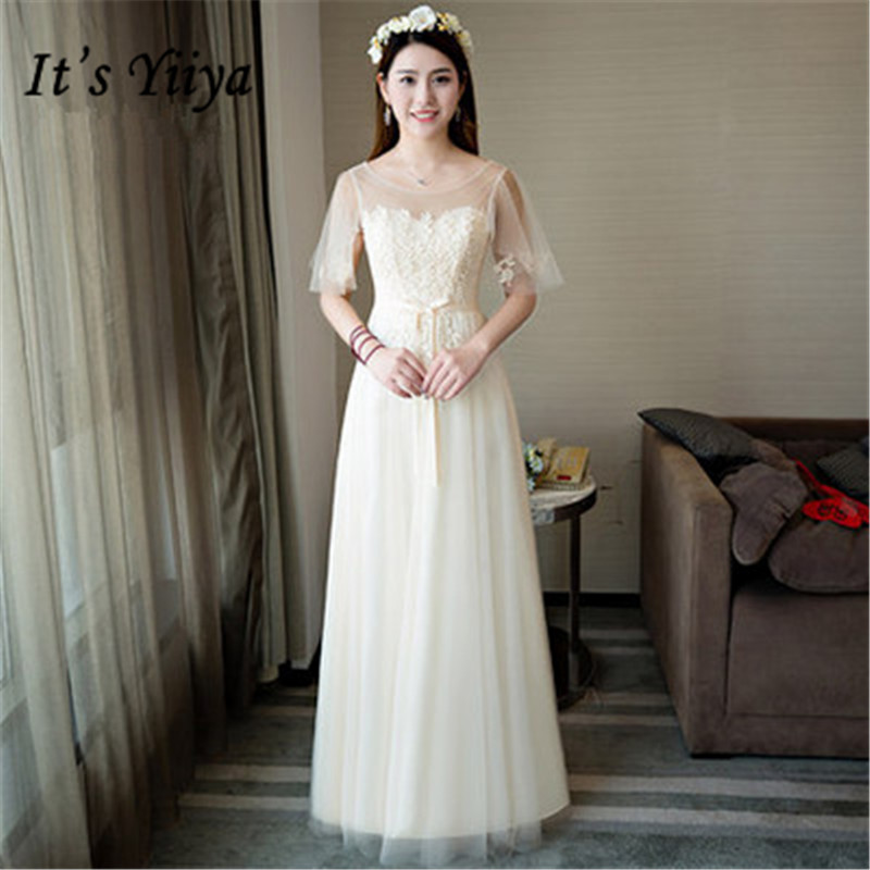 Its YiiY New Simple Lace Bridesmaid Dresses Fashion Boat Neck A-line Party  Frocks YG012 3a7bf99351f1