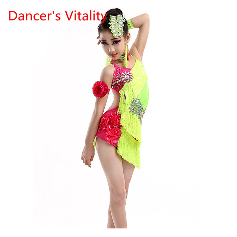 New Kids Dresses For Girls Neon Colors Fringe Dress Stage Performance DancewearTango Prom Dress Competitive Latin Dress