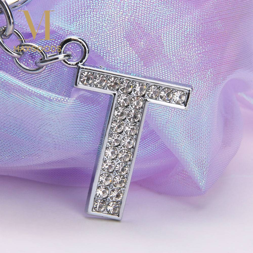 1Pcs New Crystal Rhinestones Alphabet Keyring 26 Letters Initial Letter Key Ring Chain Unisex Keychain Fashion Jewelry