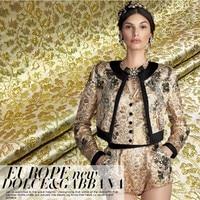 Fashion Show Gold Small Flower Jacquard Fashion Fabric Cloth Coat Dress Suit Fabric