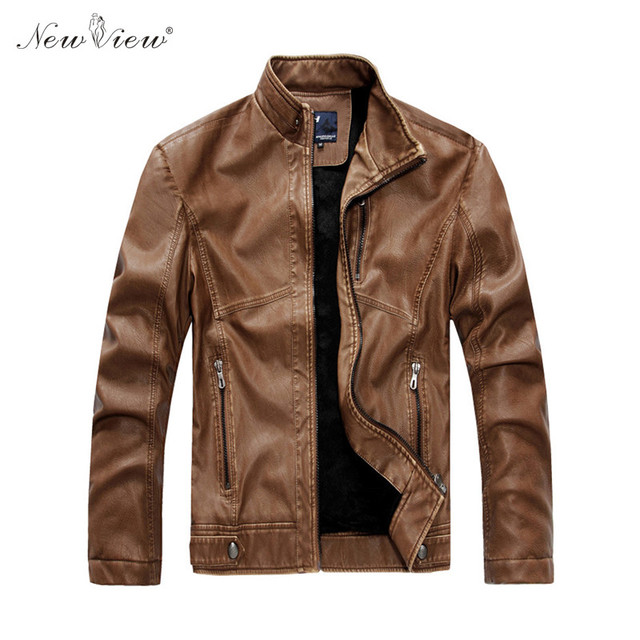 Brand Clothing Men Leather Jacket Winter Thick Warm Fur Coat Motorcycle Jackets Casual Slim Outerwear Male Clothing Winter