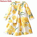 So Beautiful!Retail 2-7 Years Girls Yellow Tulip Dress Sets Children Autumn Clothing Suits Coat+Sundress