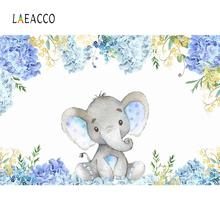 Elephant Baby Shower Backdrops For Photography Flowers Newborn Portrait Watercolor Backgrounds Photo Studio