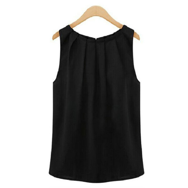 Summer Womens Sleeveless Solid   Blouse     Shirt   Tops Tropical Pleated Chiffon S-XLHot