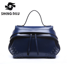 2016 New Arrival Fashion Patchwork Women Brand Shell Portable Bags Classic Genuine Leather Tote Bag Girl's Small Messenger Bag