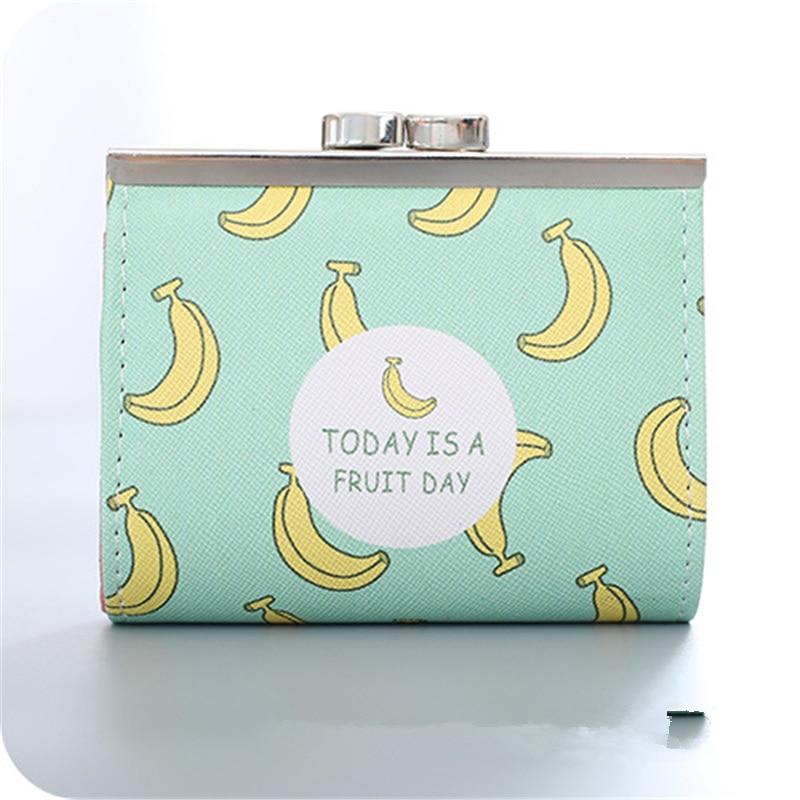 Pacgoth фиксатор открывалка Kawaii для девочек кошелек из искусственной кожи Кошельки короткие мультфильм фрукты узор клубника-банан сумка 1 предмет