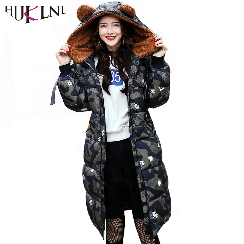 HIJKLNL Plus Size 3XL Long Thick Jacket Women Winter Coats and Jackets 2017 New Camouflage Kawaii Loose Padded Parka Mujer NA399 hijklnl women casual letter printed hooded long jacket 2017 winter thick coats female loose overcoat cotton parka mujer na340