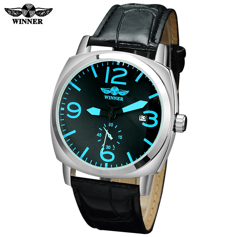 2016 Winner watches men luxury brand automatic self wind mechanical fashion casual date wristwatches artificial  leather strap winner fashion men mechanical watches leather strap silver case new casual brand analog automatic wristwatches relogio masculino