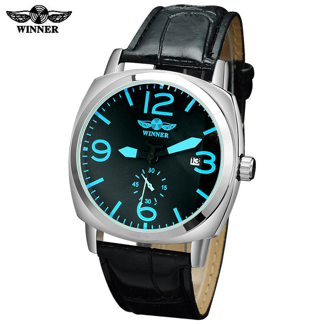 2016 Winner watches men luxury brand automatic self wind mechanical fashion casual date wristwatches artificial  leather strap