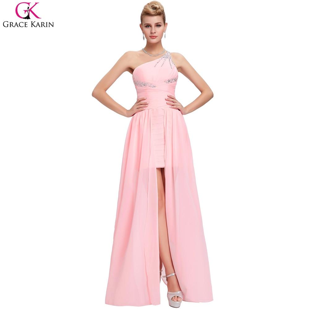 Pink Chiffon One Shoulder Long Dress