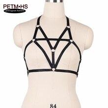 Womens Sexy Body Harness Bra Black Elastic Bondage Lingerie Belt Strappy Tops Cage Bustier Underwear Goth Exotic Apparel Corset