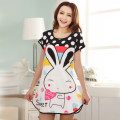 Summer Short Sleeve Nightgown Women Comfortable Cool Milk Silk Fabric Cute Girl Sleepwear Cartoon Printing Sleeping Home Dress