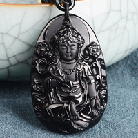 Belwide Natural Black Obsidian pendant Guanyin Guanyin pendant Green Tara incarnation of mother's Day gift