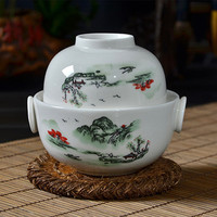 150CC Chinese Ceramic Tea Set Travel Teapot With Cup Drinkware Quick Cup Easy Bubble Blue And