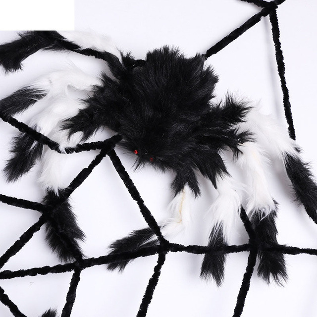 halloween decorations furry spider haunted house halloween prop fake spider web toy diy party bar ktv - Spider Halloween Decorations