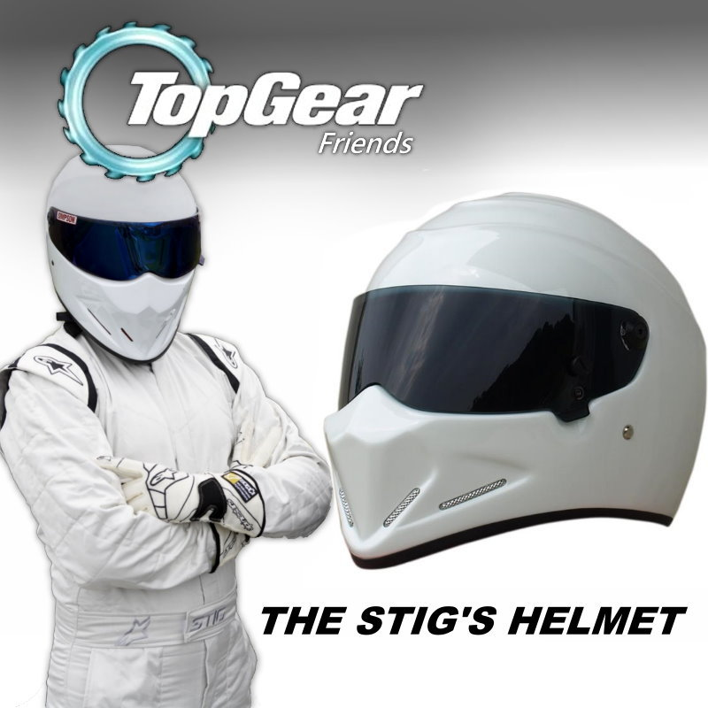 For Top Gear The STIG Helmet Casco De Motocicleta with Black Visor / Capacete as SIMPSON Pig / White Motorcycle Casque I'm Stig for top gear the stig helmet with silver visor tg collectable like simpson pig yellow motorcycle helmet you re the stig