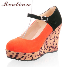 Ladies Sexy Pumps Spring Closed Toe Flock Platform High Heel Wedges Women's Patch Leopard Orange Shoes Big size 42 43