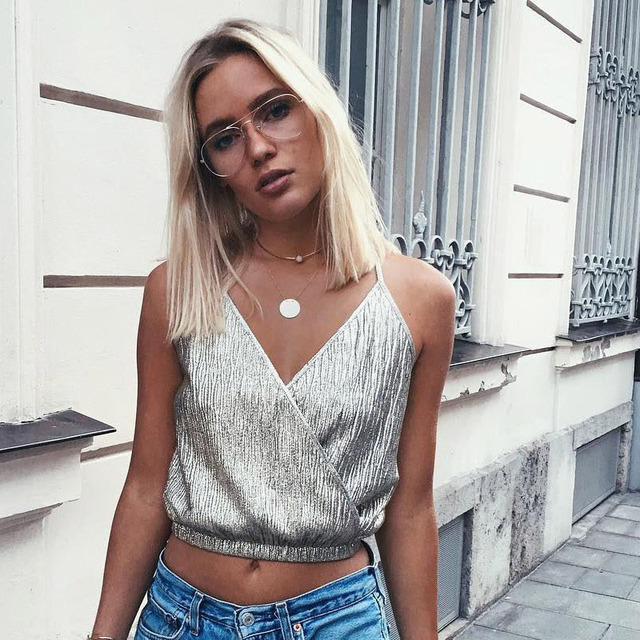 0247ade8a777f Women Chic Tank Top 2018 Deep V Neck Sleeveless Brandy Melville Tops Sexy  Bronzing Night Club Cropped Camisole Top