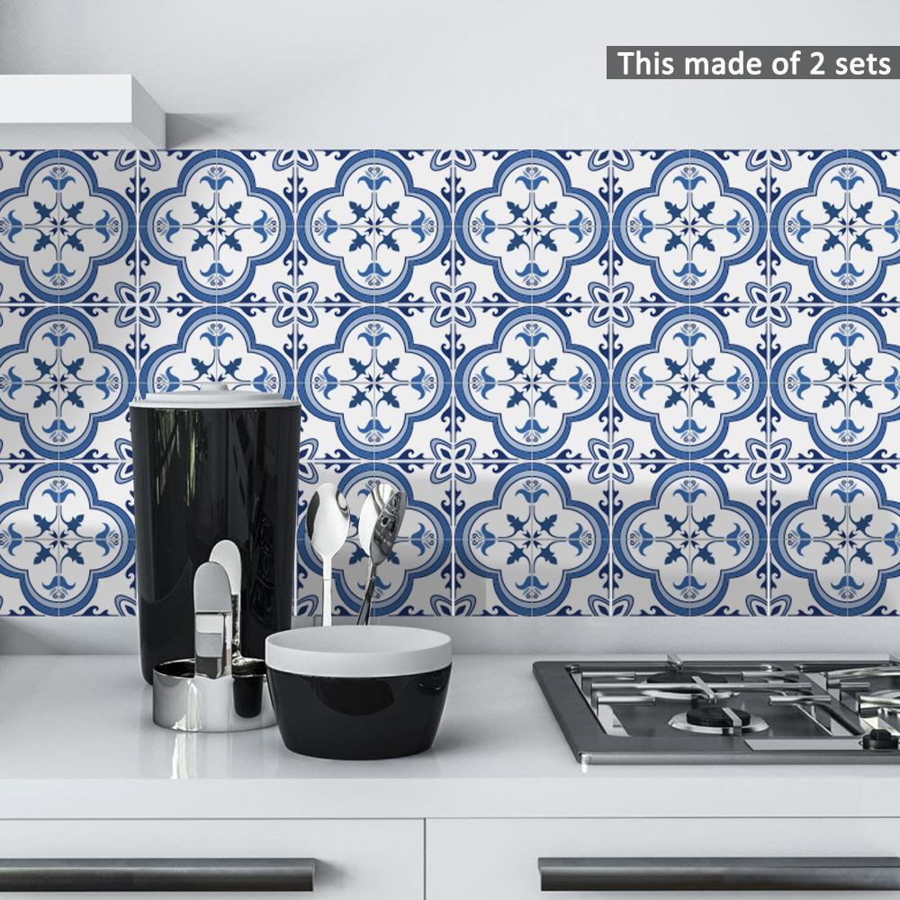 3D wallpaper Portuguese style PVC waterproof kitchen toilet ...