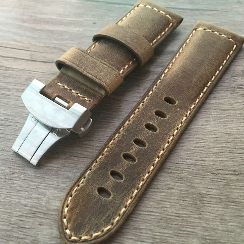 LUKENI New PAM 24mm Vintage Brown Italy Calf Leather Watchband Strap With Original Butterfly Buckle For Panerai PAM Bracelet new arrive top quality oil red brown 24mm italian vintage genuine leather watch band strap for panerai pam and big pilot watch