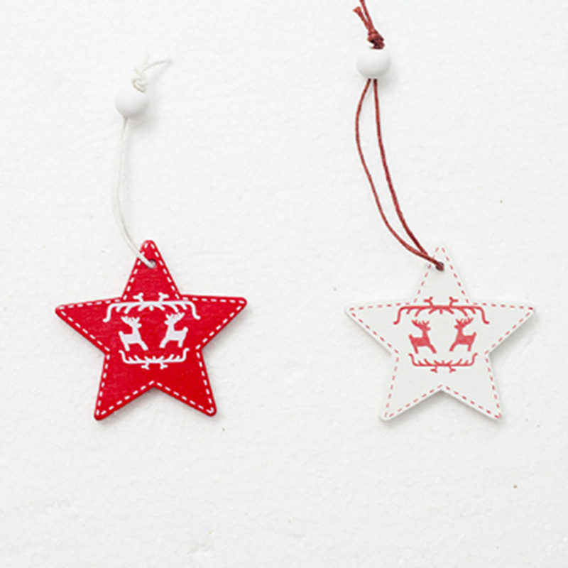 Creative New White Red Christmas Tree Ornament Wooden Hanging Pendants Angel Snow Bell Elk Star Christmas Decorations For Home