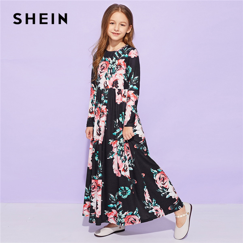 SHEIN Kiddie Allover Floral Print Cute Girls Maxi Dress Kids Clothing 2019 Spring Long Sleeve Casual Child Long Flared Dresses spring and autumn girl children cotton dress long sleeve flower print sweaters dresses fashion baby girl cute party dress